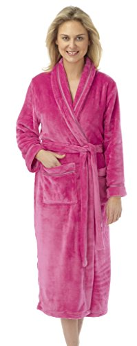 Damen Flanell Fleece Bademantel Bademantel Satin Trim Grau Rot Marineblau Blaugrün Pflaume Pink Volle Länge Gr. Small, hot pink (Ribbon-fleece Pink)