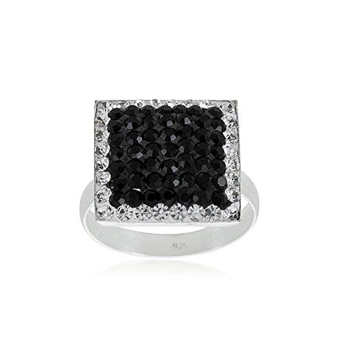 "Fashionvictime - Bague Femme - ""Carré"" - Argent 925 - Crystals From Swarovski - Bijou"