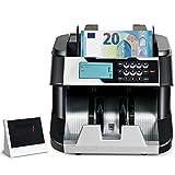 COSTWAY Geldzähler mit Echtheitprüfung, Banknotenzähler für Euro, Geldzählmaschine mit Update-Funktion, Geldscheinzähler mit LED-Display