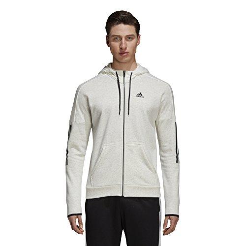 adidas Herren Sports ID Logo Full Zip French Terry Kapuzen-Sweatshirt, White Melange/Off W Preisvergleich