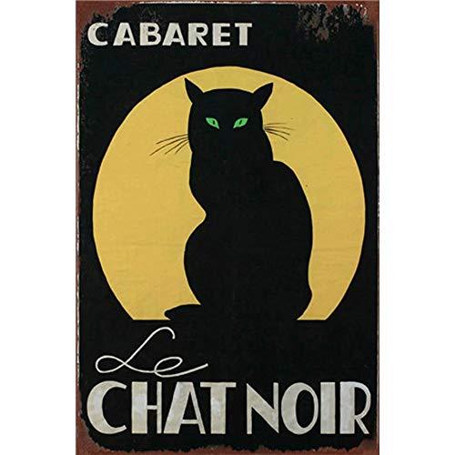 Easy Painter Plaque en métal pour Chat Style Vintage Nostalgique, rétro en métal Cabaret Chat Noir 30 x 19 cm