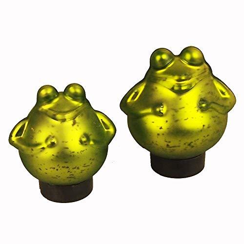 Bollweg Schwimm-Frosch mittel Maße 12cm x 13cm in grün/matt aus Glas