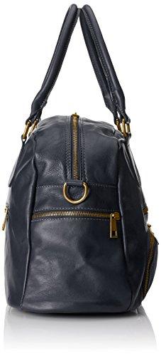CTM Tasche Frau Grande, Stil Satchel, 47x29x21cm, echtes Leder 100% Made in Italy Blau (Blu)