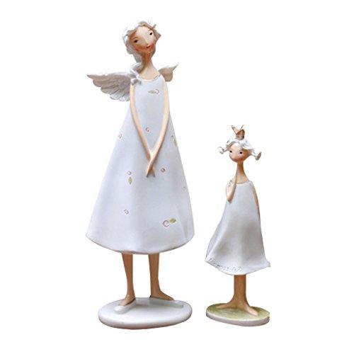 Homyl 2er-Set Dekoration Harz Engel Mutter und Tochter Figuren Skulpture Ornament -