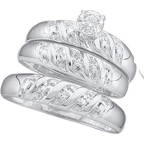 Hombre Mujer 10K oro blanco redondo diamantes 0.07ct. Anillo de compromiso boda novia banda Trio Set