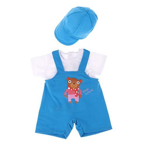 Homyl Puppen T-Shirt, Hosenträger Hose und Kappe Kleidung Satz Für 43-45 cm Puppen (3er-Set) - Blau