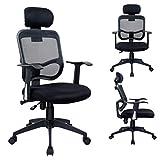 Duhome 0391 Bürostuhl / Chefsessel, Kopfstütze, ergonomisch, Netzbezug, Wippfunktion in Schwarz ++WORKOHOLIC++ - 2
