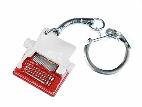 Preisvergleich Produktbild Schreibmaschine Schlüsselanhänger Miniblings Anhänger Maschine rot weiß