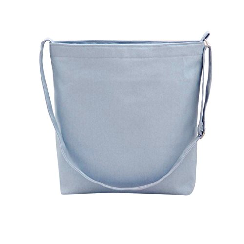 Koly_Fashion Girls Canvas borsa di acquisto Tote Shopper Bag Crossbody (Azzurro)
