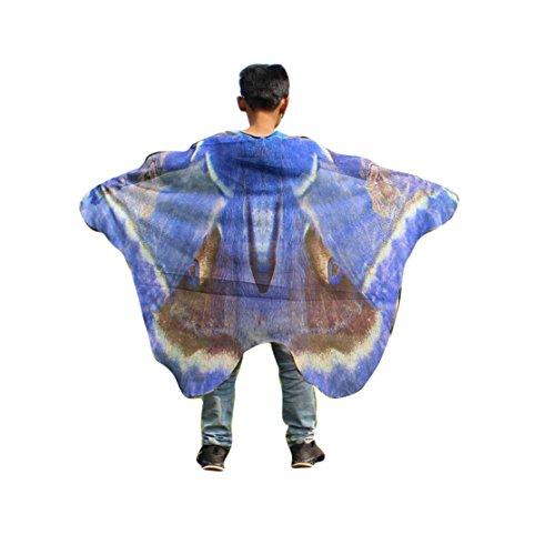 Kinder Schmetterling Schal 147*100CM,Loveso Kind Kinder Jungen Mädchen Schmetterling Flügel Schals Fairy Göttin Karneval Damen nympho Pixie Cosplay Weihnachten Kostüm Zusatz (147*100CM, ()