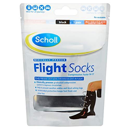 Scholl Herren & Damen 1 Paar Baumwoll Fühlen Flug Socken Unisex 6.5 - 9 Schwarz -