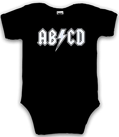 Crazy Dog TShirts - Baby ABCD Creeper Funny Metal Band Rock Logo Romper for Infants and Toddlers (black) 3-6 Months - baby-Enfant