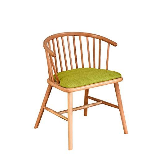 Qjifangyizi Hoher Hocker, Hölzerne Hohle Rückenlehne Grüne Kissen Sitz Massivholz Frühstück Home Cafe Stühle (Farbe : B) -