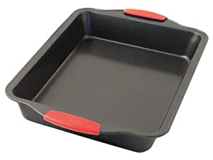 Ready Steady Cook Square Non Stick Cake Tin with Silicone Handles Carbon Steel Black Red 20 cm