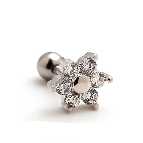 2 pezzi 16g 8 millimetri fiore zircon ear cartilagine helix fissa gli orecchini padiglione auricolare piercing 16 calibri 1/4