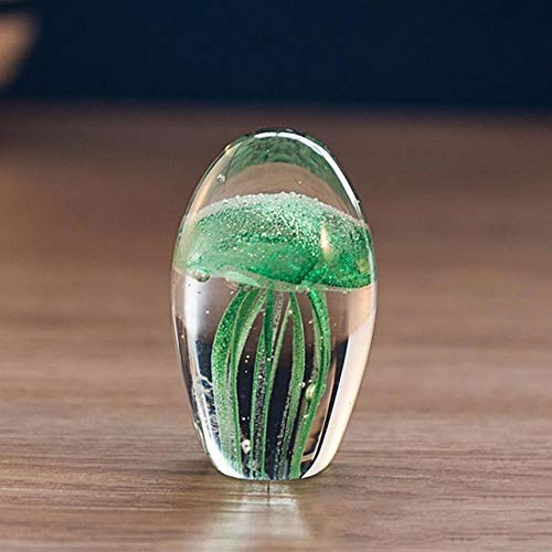 Cristalli soprammobili pezzi da collezione famiglia simulazione fatta a mano in acquariodecorazioni per la casa miniature fondo in vetro artistico stabile meduse figurine fermacarte, verde