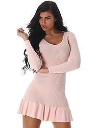 24brands Damen Kleid Feinripp Strickkleid langarm Minikleid mit Volants ausgestellt - 3172
