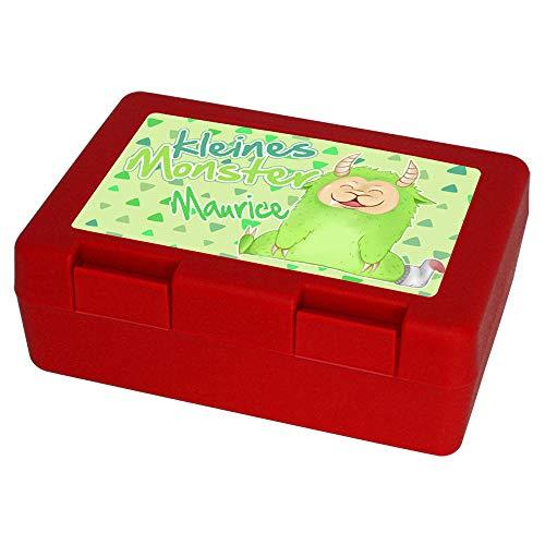 Eurofoto Brotdose mit Namen Maurice und Motiv - Kleines Monster - für Jungen | Brotbox rot | Vesperdose | Vesperbox | Brotzeitdose mit Vornamen