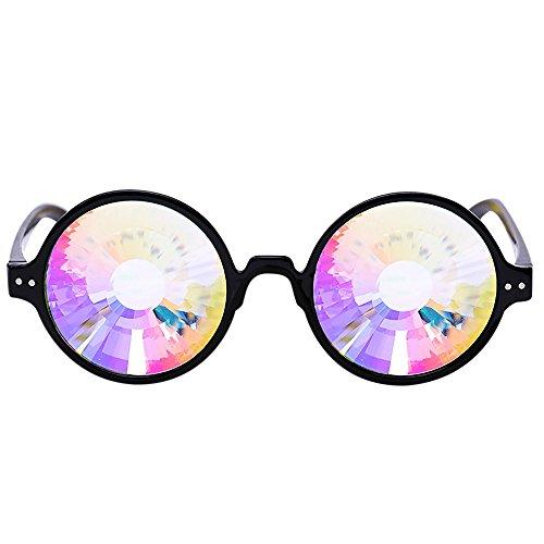 Lonshell Kaleidoscope Brille Cosplay Brillen Party Gläser Prism Beugung Effekt Festival Raver Toy Steampunk Cyber Goggles (B Schwarz)