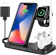 KINH DOANH Wireless Charger, 4 in 1 Qi-Certified Wireless Charging Station with Adapter for iphone 12, iphone