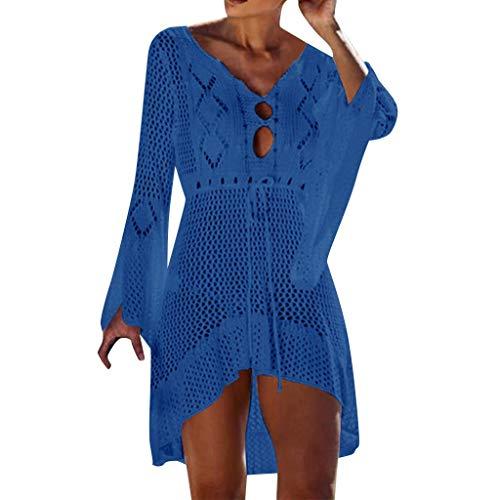 YWLINK Damen Hohl Pullover Lange Ärmel Sommer Sonnencreme Bluse Cover Up Bikini Bademode Stricken Strand(Dunkelblau,Einheitsgröße) (Langen Pullover Stricken Frauen ärmeln)