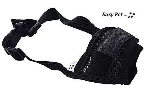Doberman Pinscher Dog Muzzle Size Large Black Breathable Anti Bite Bark Nylon Comfortable Lightweight Quick Release Muzzel