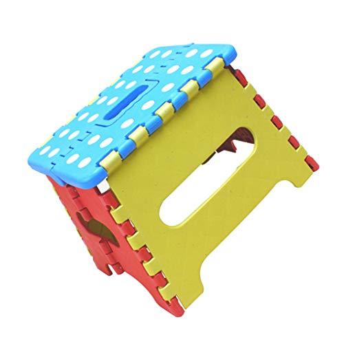 Royalr Tragbare Fischen-Stuhl-Punkt-Muster Kunststoff Klapptrittschemel Kinder Rutschhemmende Mazar Stuhl zufällige Farbe (Mini-falte-stuhl)