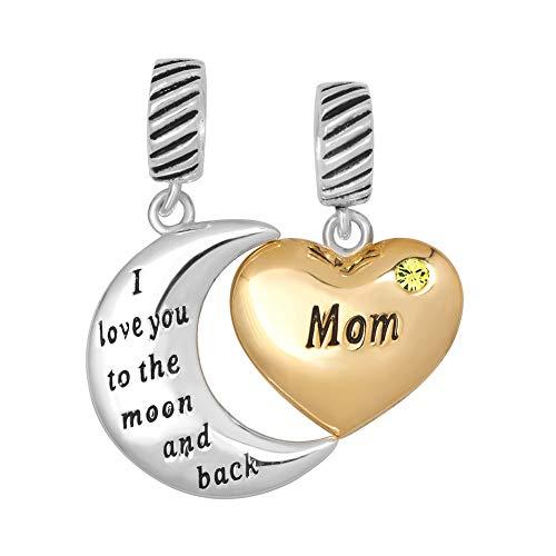 Poetic Charms Herz Ich liebe dich bis zum Mond und zurück Mama Charm 12 Farben Geburtsstein 925 Sterling Silber Bead für Europäische Armband Family Pot