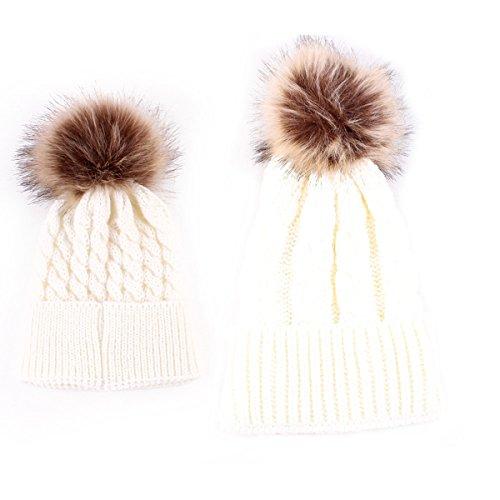 Winter Ski Hut (2PCS Parent-Child Baby Mutter Strickmütze Wärmer Familie Häkelarbeithut Wollmütze Beanie Ski Hüte&Mützen)