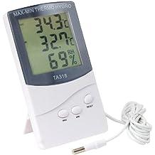 Termómetro digital para interior y exterior con 2 sensores de alarma para tiempo y temperatura