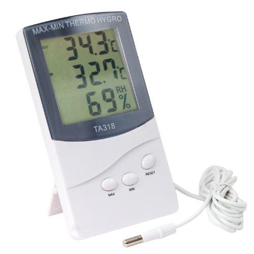 TRIXES Digitales Innen- und Außenthermometer mit 2 Sensoren, Alarm, Wettertrend & Temperatur