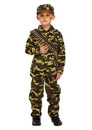 Fancy Me Jungen Kinder Armee Militär Tarnung Soldaten Uniform Kostüm Kleid Outfit - Grün, Grün, 10-12 Years