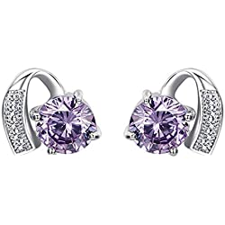 Omos Women's Classic Stud Earrings, 925 Sterling Silver and Purple Diamantes, Christmas Gift Idea