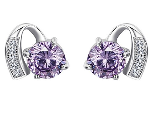 omos-womens-classic-stud-earrings-925-sterling-silver-and-purple-diamantes-christmas-gift-idea