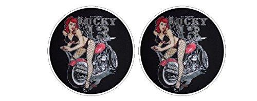 Lucky Vintage Retro Aufkleber Sticker + Gratis Schlüsselringanhänger aus Kokosnuss-Schale + Oldschool Rockabilly 1% MC Outlaw Rockabella Chopper Bumper Bike Helm Bobber Tuning ()