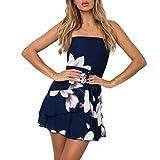 VJGOAL Damen Kleid, Damen Mode Weg von der Schulter Boho Sleeveless Beach Party Sundrsss Sommer Mini Formelle Kleidung (L/40, Marine)