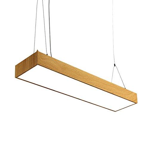 trioy Life Lampe suspension Nordic LED design moderne rectangulaire bois et acrylique Art Leuchten Deco Lampe suspension 1 ampoule lustre Suspension Hauteur réglable pour le bureau 36 W Bureau Weißes Licht