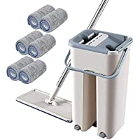 Lazy Hand-Free Wash Flat Mop,Mop Bucket System Handsfree Squeeze,Easy self wringing dust mops for floor cleaning Hardwood Laminate Tile Stone Floors (1 cubo + 1 trapeador + 6 paños)
