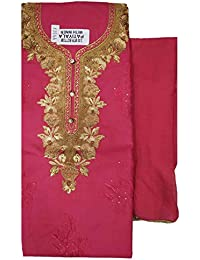 99635495b1 Varun Cloth House Womens Cotton Embroided Dress Material (vch6092, Pink,  Free Size)