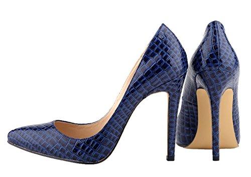 HooH Femmes Motif Alligator Pointu Stiletto Escarpins Bleu