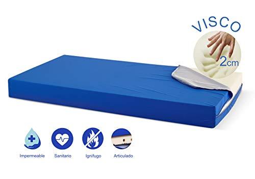 Ferlex SaniMat medizinische Matratze gegen Krankenhäuser, 2 cm Viskose, wasserundurchlässig 90 x 200 cm