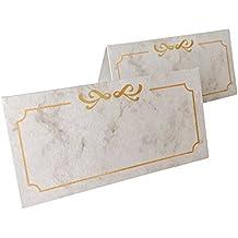 Jumbo-Pack Tischkarten, Namenskarten 100 Stück - 10 x 5 cm, 250 g/m², Namensschilder, Platzkarten ideal für Hochzeiten, Geburtstage, Taufe, Familienfeiern, Trauerfeiern, Meetings, Präsentationen, Vereinsfeiern