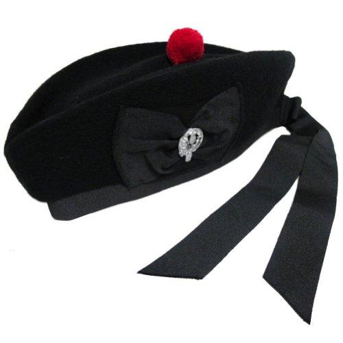 Tartanista - Herren Glengarry-Mütze - traditionell schottisch - Schwarz mit Distel - 58 ()