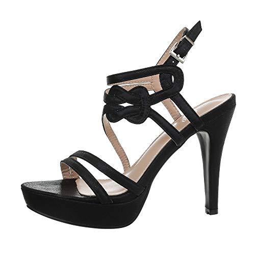 Ital-Design Damenschuhe Sandalen & Sandaletten High Heel Sandaletten Synthetik Schwarz Gr. 39 -