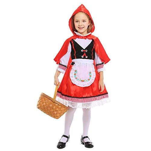 LOLANTA Disfraz de Caperucita Roja para niñas Disfraz de Cosplay de Halloween para niñas (4-5 años)