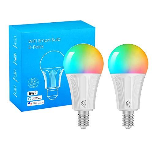 MoKo Lampadina LED Colorate RGB,Controllo Remoto WiFi, 2 Pezzi 9W Luce Calda Dimmerabile, Lavora con Alexa Echo, Google Home e IFTTT per Controllo App Smart Life No Hub - Bianco