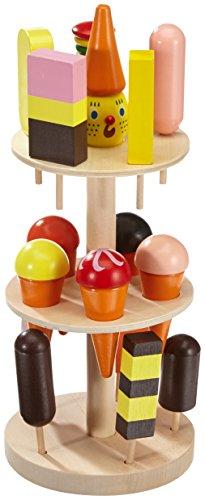 *Eisständer aus Schicht- und Massivholz, Kaufladenzubehör mit buntem Eis in 15 verschiedenen Sorten, perfekte Ergänzung zum Kaufladen/ Kaufmannsladen und Kinderküche*