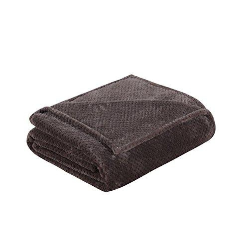Thermo King-size-decke (asdomo Waffelmuster Baumwolle Decke Blatt Yoga Decken Weiche Thermo Flanell Wirft BABY Decken für Single, Twin, Full, Queen Oder King Size Bett, baumwolle, dunkelbraun, 100X140CM)