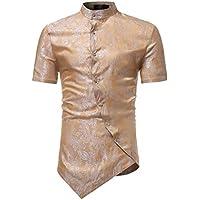 Camisa de Manga Corta para Hombres Inclinación de la Puerta en Cuclillas Irregular Collar de pie Slim fit diseño Superior Camiseta Blusa Tops Sudaderas Gusspower
