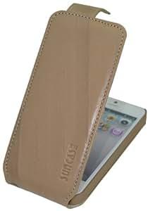 Suncase Original Premium Flip-Style Echt Ledertasche für Apple iPhone 5 / 5S wash-beige